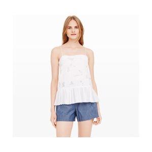 Club Monaco   White Lace Ruffle Trim Camisole